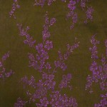 "60""black rayon sheer with flocked purple flowers with rhinestones"